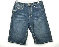 Kanji Mens Medium Denim Cotton Square Pockets Button & Zip Jean Shorts Sz 32
