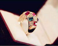 Women Luxury Colorful Geometry Rhinestone Crystal Finger  Ring Jewelry Gift