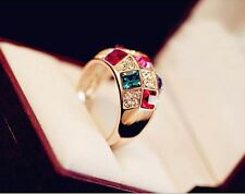 Women Luxury Colorful Geometry Rhinestone Crystal Finger  Ring Jewelry Gift