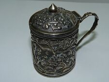 Antique Chinese Export Silver 900 Mustard Vessel, Marked HO w/orig. Liner, H 6cm