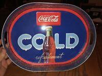 Drink Coca-Cola Cold Refreshment Metal Tin Raised Edge Serving Tray