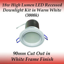 18 watt LED Recessed Downlight Kit in Warm White with White Frame