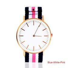 Advanced Elegant Analog Watch Women Men Leather Nylon Stripe Strap Rosegold SSUS