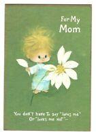 Vintage Hallmark Mother's Day Greeting Card BOY FLOWER 1960's POP ART AF4