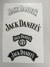 4PCS-JACK DANIELS-CLEAR GLOSS STICKERS-(4 x 35mm-100mm)-NEW!!!