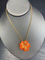 Women's Cloisonné Colourful Orange Hibiscus Flower Hawaiian Pendant  Necklace