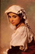 Wonderful art Oil ludwig knaus - a portrait of a tyrolean girl & white scarf art