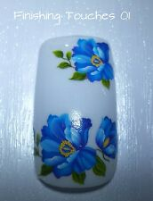 Nail Art Water Transfer- Blue Decal #373 C018 Sticker Wrap Shiny Large Flower