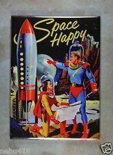 "Vintage Sci-Fi Illustration Fridge Magnet 2 1/2"" x 3 1/2"" Spacemen Rocketship"