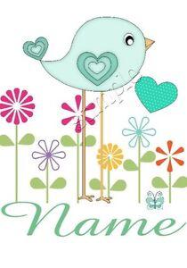 IRON on TRANSFER personalised BIRD FLOWERS HEART CUTE 12x13cm