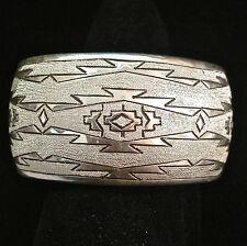 STUNNING WIDE Travis Largo STERLING SILVER Rug Design Bracelet