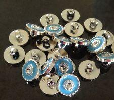 13mm Silver & Light Blue Shank Buttons - Australian Supplier