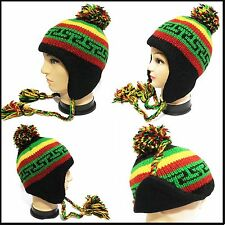 made in nepal  beanie rasta hat Pilot Ski cap handmade 100% Wool Fleece lining!