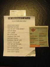 The Virginmarys Concert Used Set List Ticket Stub US Tour Charlotte NC 2013