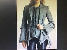 ICONIC EDGY CHIC Alexander McQueen plaid peplum fringed wool dress jacket/blazer