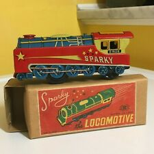 MASUDAYA TOYS CO., LTD. FRICTION DRIVEN SPARKY THE LOCOMOTIVE. WORKING WITH BOX!