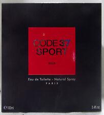 KAREN LOW CODE 37 SPORT PARIS 3.4 OZ / 100 ML EDT SPRAY COLOGNE NIB FOR MEN