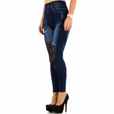 Leggings jeansteggings señora High waist pantalones vaqueros óptica Jeggings cut outs punta