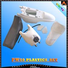 For Yamaha PW50 PY50 PW 50 White Plastic Fender Body Seat Gas Fuel Tank Kit 50cc