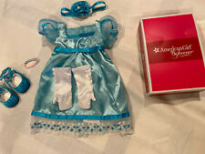 American Girl Doll Caroline Party Gown Dress Head Band Bracelet Gloves Shoes Box