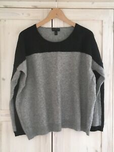 The White Company Wool Cashmere Jumper Large 14 16 Dark & Light Grey Sweater