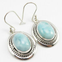 Earrings For Women 1.5 Inches Fine ! 925 Solid Sterling Silver Natural LARIMAR