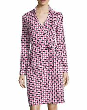 NWT Diane von Furstenberg Check Dot Pink New Jeanne Two Wrap Dress 8 $398