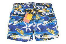 NWT Etro 100% Polyamide Men's Swim Trunks Blue/White/Yellow Sea life - XS