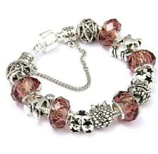 Crystal Charm Bracelets Silver Bracelet For Womens Ladies Bead Safety Chain