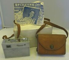 Whittaker Micro 16 Camera + RARE Leather Case & Manual - U.S.A. from 1947
