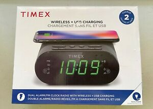 Timex TW500BC Dual Alarm Clock Radio With USB and Wireless Charging