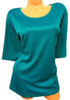 Maggie barnes blue spandex stretch scoop neck women's short sleeve top 26/28W