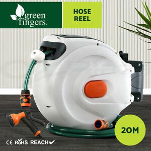Greenfingers 20M Retractable Water Hose Reel Garden Spray Gun Storage AutoRewind