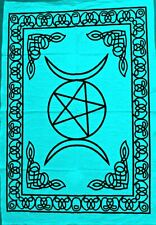 Wall Hanging Blue Color Beautiful Design Cotton Triple Star Moon Tapestry Poster