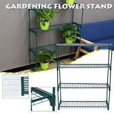 UK Iron Plant Frame Stand Rack Shelves Greenhouse Garden Shelving Shade 4 Tiers