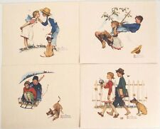 Vintage 1970's Norman Rockwell Young Love Print Set 2 Four Print Set