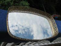 Vintage  Gold colored Mirror Vanity Perfume Tray