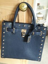 Navy Blue Faux Leather Navy Blue Tote Bag Gold Tone Chain & Studs Padlock
