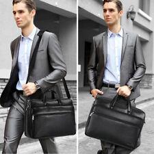 """15.6"""" Men's PU Leather Vintage Black Messenger Shoulder Laptop Bag Briefcase US"""