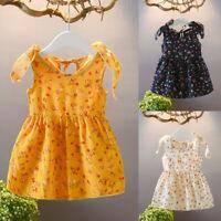 Toddler Baby Kids Girls Sleeveless Ribbons Bow Floral Dress Princess Dresses AU