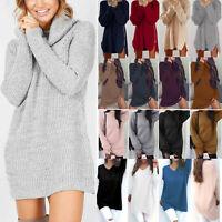 Women Long Sleeve Knit Sweater Jumper Sweatshirt Casual Tunic Tops Mini Dress AU