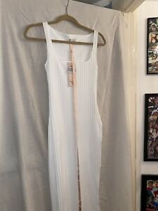 Oh Polly Dress Size 8 White - Thick Ribbed Bodycon, Thigh Side Split