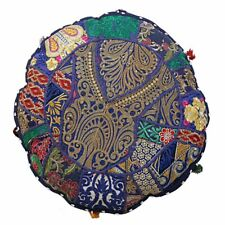 "32"" Round Floor Pillow Casa Indian Vintage Bohemian Patchwork Cushion Cover Blue"