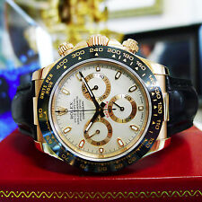 Rolex Daytona 18K Rose Gold Cosmograph Black Leather Ref: 116515 c. 2010