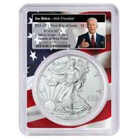 2021 (W) $1 American Silver Eagle PCGS MS70 FDOI Biden 46th President Flag Frame