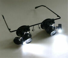 20x Magnifying Eye Magnifier Glasses Loupe Lens Jeweler Watch Repair LED Light@