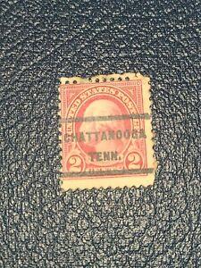 Scott 634 US Stamp 1926-28 2c Washington Precancel CHATTANOOGA TENN. Used -#2524