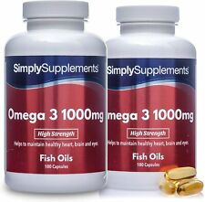 Simply Supplements Omega 3 1000mg -180 tapas potencia para Heart cerebro & ojos
