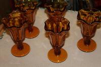 Lot of 5 VINTAGE Amber Ice Cream Sundae Parfait Fluted Tulip Pedestal Glasses