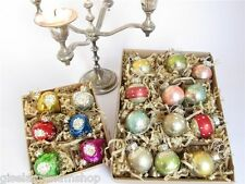 GISELA GRAHAM Christmas vintage baubles set of 18 retro packaging antique style